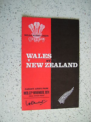 1974 WALES v NEW ZEALAND ALL BLACKS  RUGBY PROGRAMME