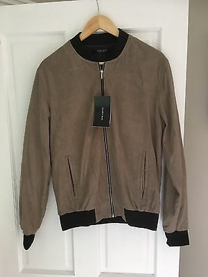 Zara Man Brown Suede Bomber Jacket Size Medium