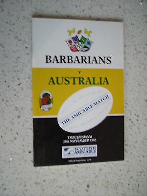 1992 BARBARIANS v AUSTRALIA RUGBY PROGRAMME
