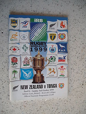 1999 NEW ZEALAND v TONGA RWC RUGBY WORLD CUP PROGRAMME