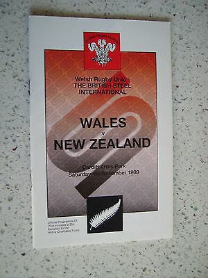 1989 WALES v NEW ZEALAND ALL BLACKS  RUGBY PROGRAMME