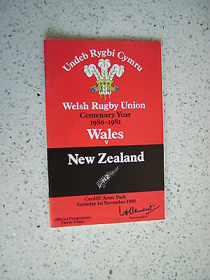 1980 WALES v NEW ZEALAND ALL BLACKS  RUGBY PROGRAMME