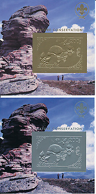 Mongolie Timbres Or/argent Chats Tortue 1993 N° Michel Bloc 210/11**