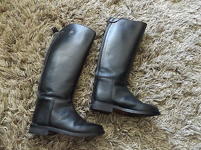 Rhinegold Long Black Leather Riding Boots Size 5