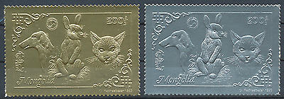 Mongolie Timbres Or/argent Chats Chien Lapin 1993 N° Michel 2473/74**
