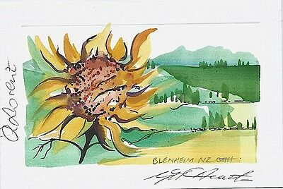 GREETING CARD from LORENZ WINERY in NEW ZEALAND – Original Watercolour!!!