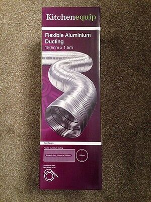 """Cooker Hood Flexible Aluminium Ducting Only (6"""") 150mm X 1.5M New In Box"""