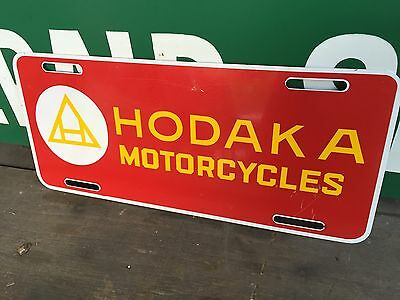 Rare Hodaka Motorcycle Dealer Issue License Plate Vtg Cycle Bike Biker