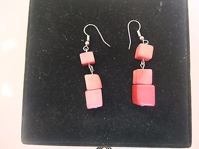 Tagua pink earrings from Colombia 100% organic handmade,  very light - brand new