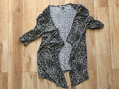 Women's Size 16 Lightweight Summer Cardigan Black White From Atmosphere