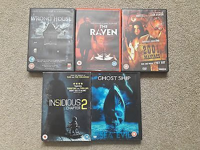 5 x HORROR MOVIES FILMS DVD JOB LOT BUNDLE , THE RAVEN , INSIDIUS 2 , GHOST SHIP