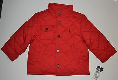 NEW NWT Polo by Ralph Lauren Baby Boys Girls Red Quilted Jacket Coat 18 Months