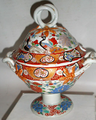 RARE Antique 19thC Chinese Porcelain Tureen Hand Painted & SIGNED ! Covered Dish