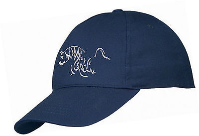 Adults Navy Blue Glitter Arab Horse Summer 5 Panel Cap