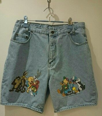 Vintage 1993 Looney Tunes Light Denim High Waisted Shorts Size 36