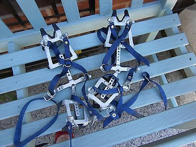 Crampons 12 Point Steel &  Straps / blue. vintage ice snow. MARKER.CAMP. ITALY