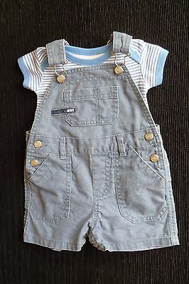 Baby clothes BOY 3-6m outfitNEXT grey-blue cotton short dungaree/stripe bodysuit