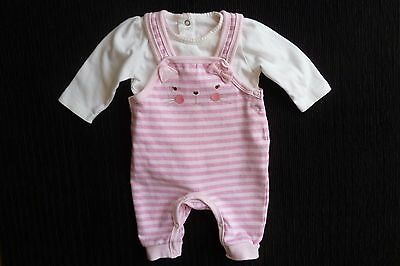 Baby clothes GIRL 0-3m outfit cat pink stripe dungaree long sleeve top SEE SHOP!