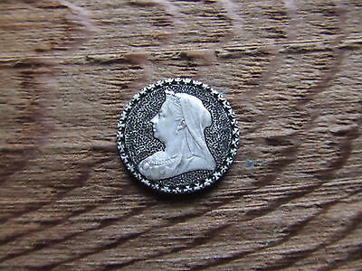 Victoria.  1901 Mourning Threepence Coin With Engraved Design.   Very Nice