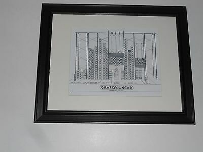 "Framed Grateful Dead Wall of Sound 1974 Tour Schematic print 14"" by 17"" RARE"