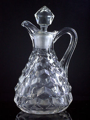 Older Heavy ANTIQUE Pressed Glass FOSTORIA AMERICAN OIL VINEGAR CRUET w Stopper