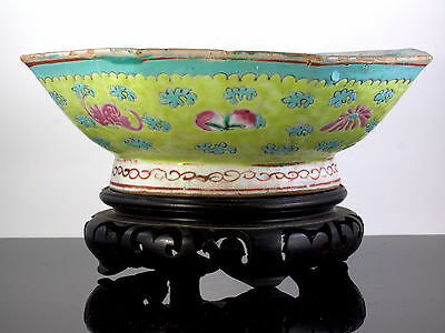 19th C QING TURQUOISE FAMILLE ROSE CHINESE BOWL BATS PEACHES CLOUDS Iron Red Art
