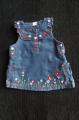 Baby clothes GIRL 3-6m TU embroidered ladybird/flowers denim pinafore dress