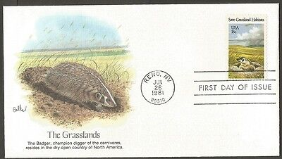 Us Fdc 1981 Save Grassland Habitats 18C Stamp Flwd First Day Of Issue Cover