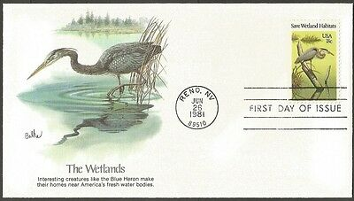 Us Fdc 1981 Save Wetland Habitats 18C Stamp Fleetwood First Day Of Issue Cover