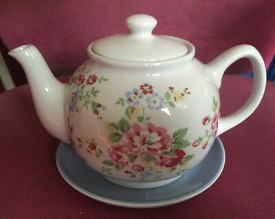 Cath Kidston Flower Floral Teapot Plate Stand Saucer China White Blue