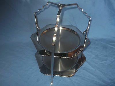 Vintage Art Deco 2 Tier Silver Plated Folding Cake Stand By Old Hall