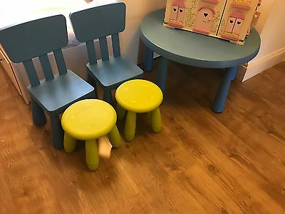 IKEA MAMMUT Round Table, 2 Stools and 2 Chairs