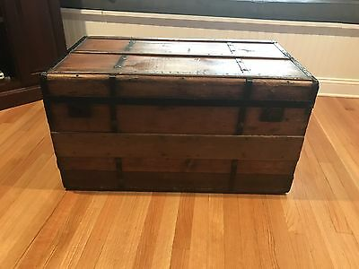 Flat Top Steamer Trunk Antique Vintage Chest Fully Lined