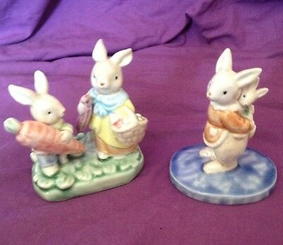 Two Porcelain Rabbit Decorative Figurines Perfect Condition Vintage