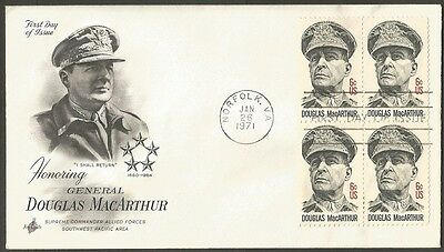 US FDC 1971 DOUGLAS MacARTHUR 6C STAMPS AC FIRST DAY OF ISSUE COVER NORFOLK VA
