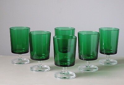 Cristal d'Arques Cavalier Green Water Goblet Glasses, Set of (6), France Vintage