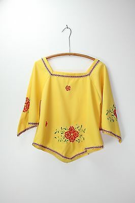 Vintage Embroidered Top Mexican Bell Sleeve 70's Shirt Scoop Neck Blouse S/M