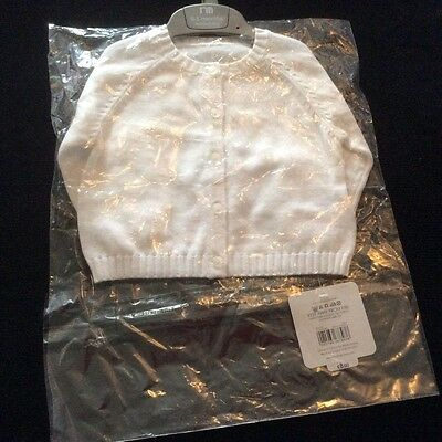 Unisex White Cardigan From Mothercare Age 0-3 Months