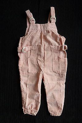 Baby clothes UNISEX BOY GIRL 6-9m rust-red/cream stripe lightweight dungaree zip