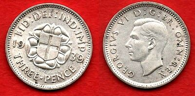 GREAT BRITAIN UK : 3 Pence 1939 King George VI Very Nice Silver Coin Argent