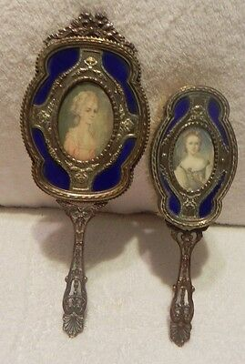 Antique German Copper & Brass Vanity Set Brush & Hand Mirror E & JB signed Paint