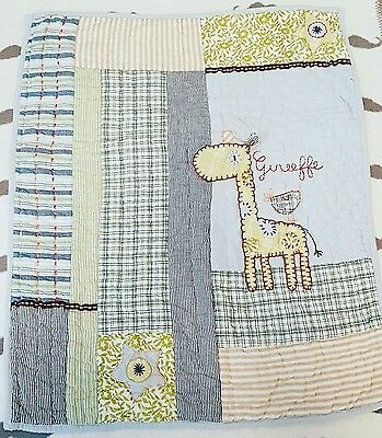 Mamas and Papas Made with love giraffe quilted small Coverlet Quilt blanket cot