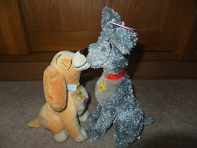 lady and the tramp n tag rare exclusive disney store kissing magnetic plush VGC