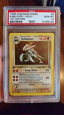 Pokemon- First Edition Kabutops 9/62- Fossil Set- PSA 10 Gem Mint
