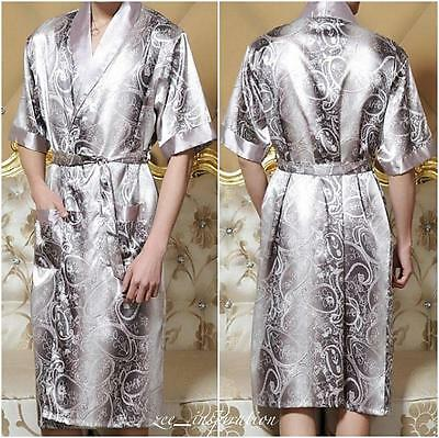 Mens Short Sleeve Satin Bath Robe / Dressing Gown ( Xl Xxl)