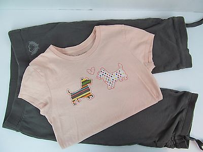 Girls Old Navy L 10 12 Peach Dog T Shirt Top & Capris 2 Pc Set Summer Outfit Lot