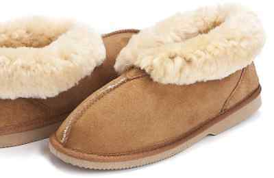 Unisex 100% Sheepskin Moccasin Boots Slipper Warm Winter Comfy Thick Sole