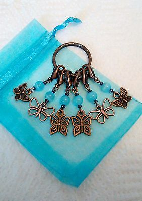6 stitch markers for knitting /crocheting, with butterfly charms, in gift bag.