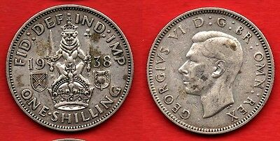 GREAT BRITAIN SCOTLAND : 1 Shilling 1938 King George VI Nice Silver Coin Argent