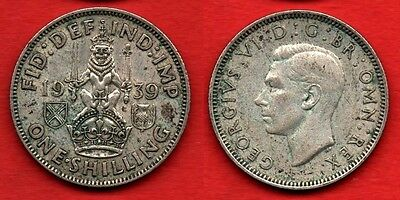GREAT BRITAIN SCOTLAND : 1 Shilling 1939 King George VI Nice Silver Coin Argent
